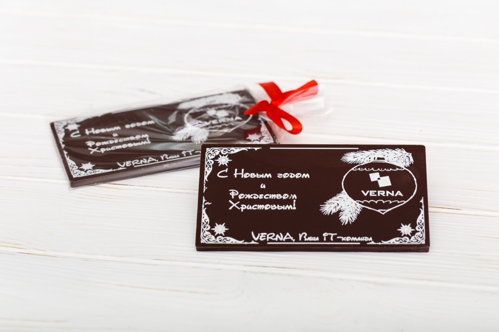 Шоколадка с логотипом в пакете