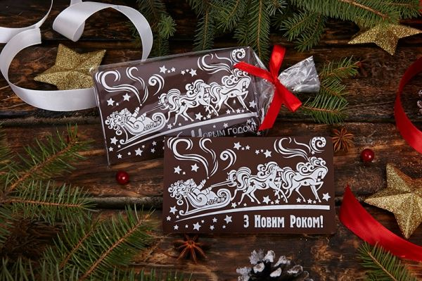 Открытка из шоколада с новым годом, для