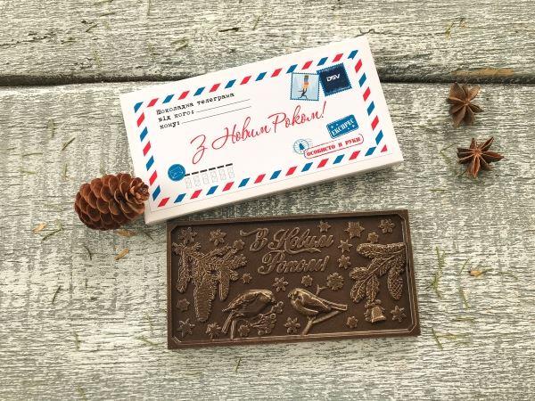 Шоколадная откытка в коробке телеграмме