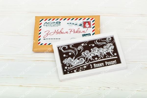 Новогодняя шоколадная открытка в крафте